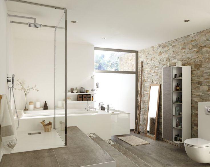 description plaquette de parement pierre naturelle beige elegance dans la salle de bain - Salle De Bain En Pierre Naturelle