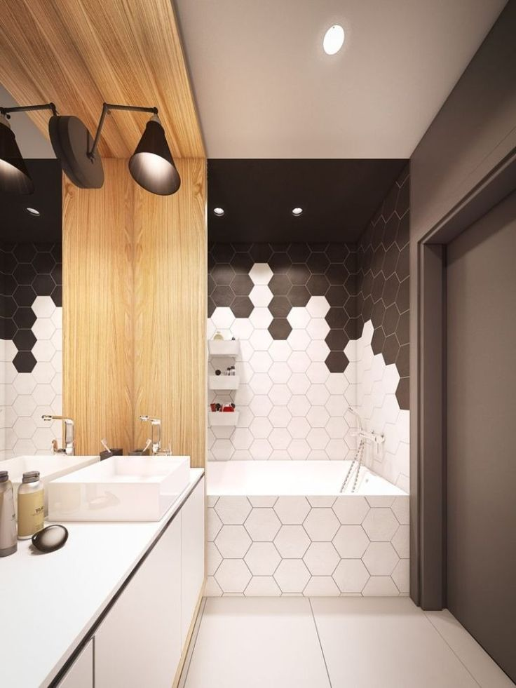id e d coration salle de bain rev tement de mur de salle de bain avec carreaux hexagone en. Black Bedroom Furniture Sets. Home Design Ideas