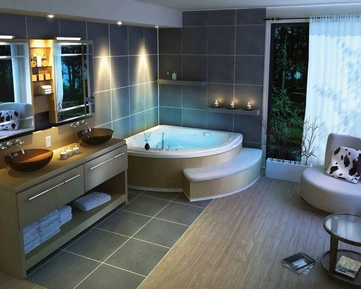 id e d coration salle de bain salle de bain avec baignoire d 39 angle et carrelage gris. Black Bedroom Furniture Sets. Home Design Ideas