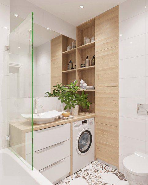 Salle de bain blanche carreaux de ciment bois clair for Idee deco salle de bain bois