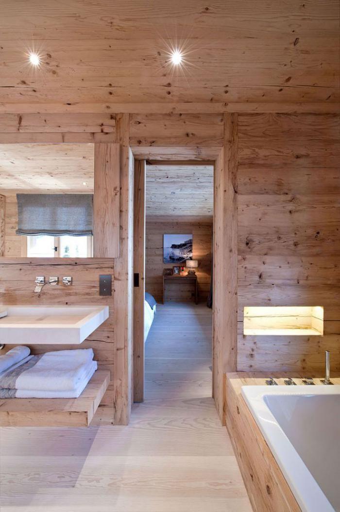 Idée décoration Salle de bain - salle de bain rustique, intérieur ...