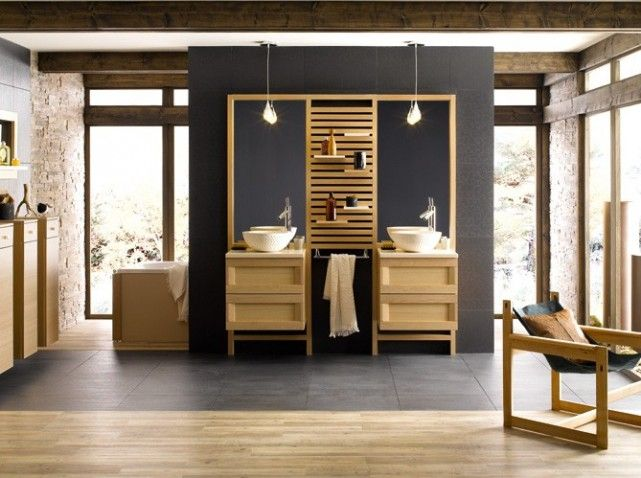 id e d coration salle de bain salle de bains bois double vasque leading. Black Bedroom Furniture Sets. Home Design Ideas