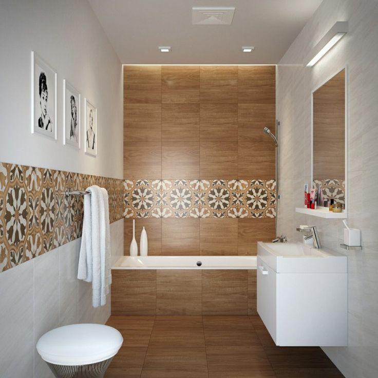 id e d coration salle de bain salle de bains moderne avec carrelage mural aspect bois clair et. Black Bedroom Furniture Sets. Home Design Ideas