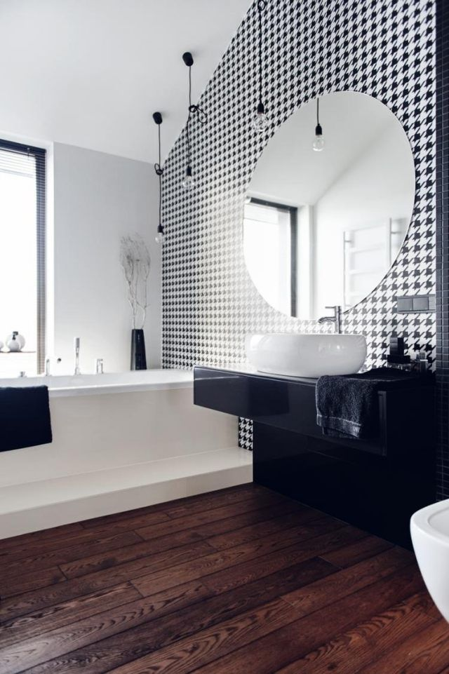 id e d coration salle de bain un papier peint en noir et blanc et un lavabo en noir et blanc. Black Bedroom Furniture Sets. Home Design Ideas