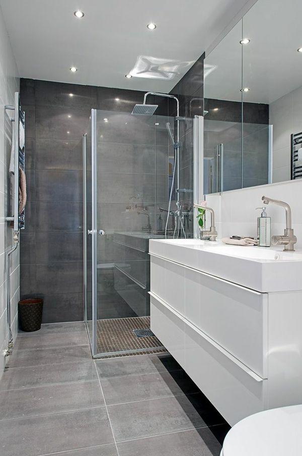 Idée décoration Salle de bain - Une salle de bains en gris et blanc ...