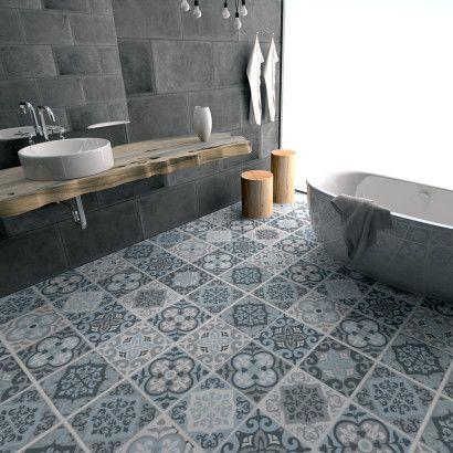 idée décoration salle de bain - vintage bleu gris autocollants ... - Salle De Bain Bleu Gris