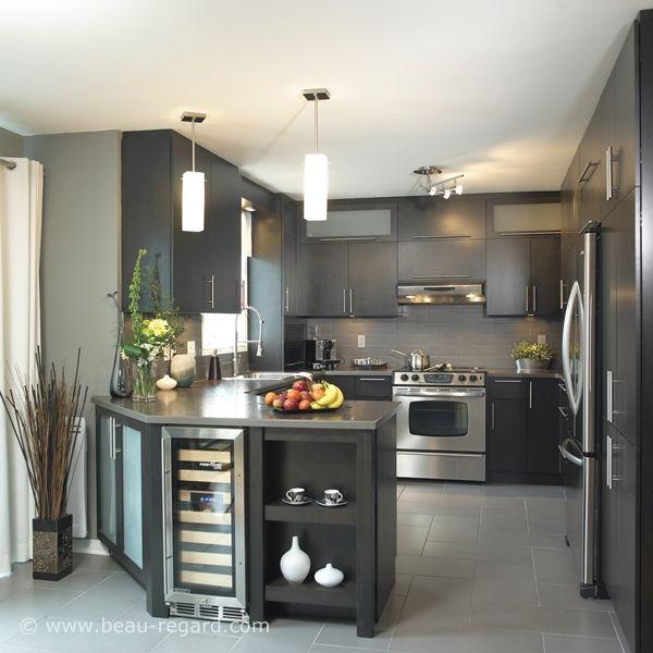 Id e relooking cuisine couleurs ton gris armoire for Cuisine ton bois