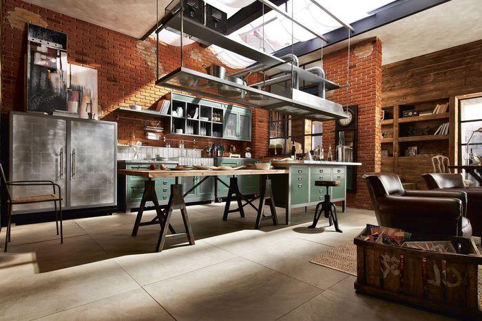 id e relooking cuisine cuisine loft industrielle avec des murs en briques rouges et des. Black Bedroom Furniture Sets. Home Design Ideas