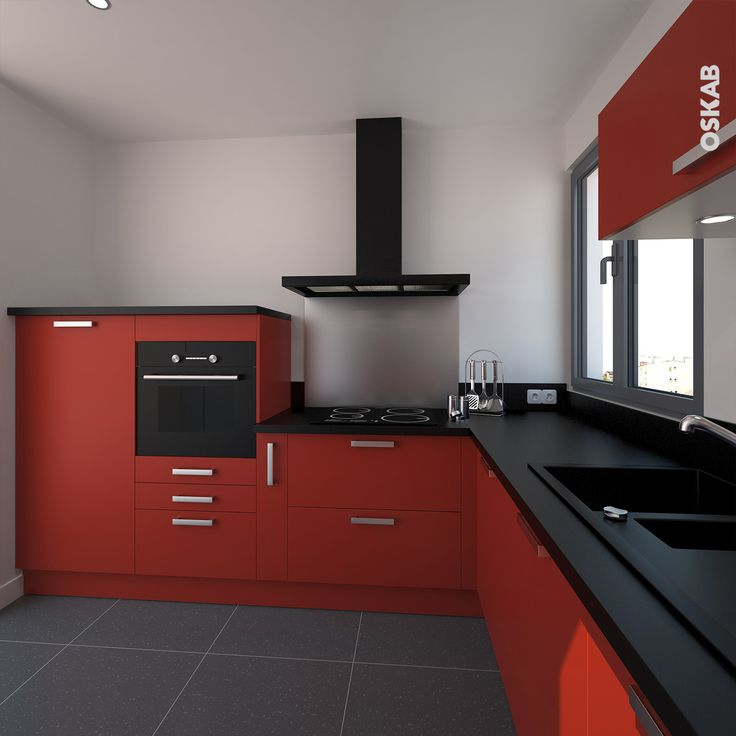 Id e relooking cuisine cuisine contemporaine rouge for Couleur cuisine contemporaine