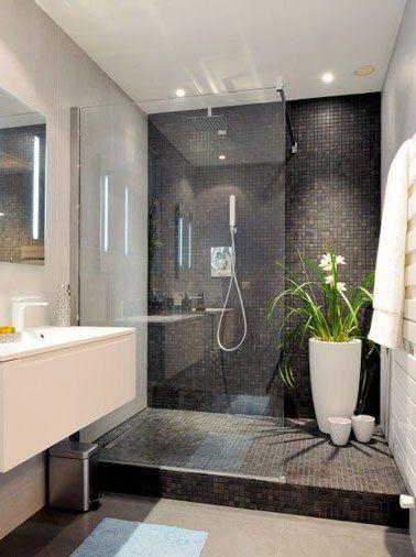 id e relooking cuisine douche italienne en carrelage noir dans salle de bain design. Black Bedroom Furniture Sets. Home Design Ideas