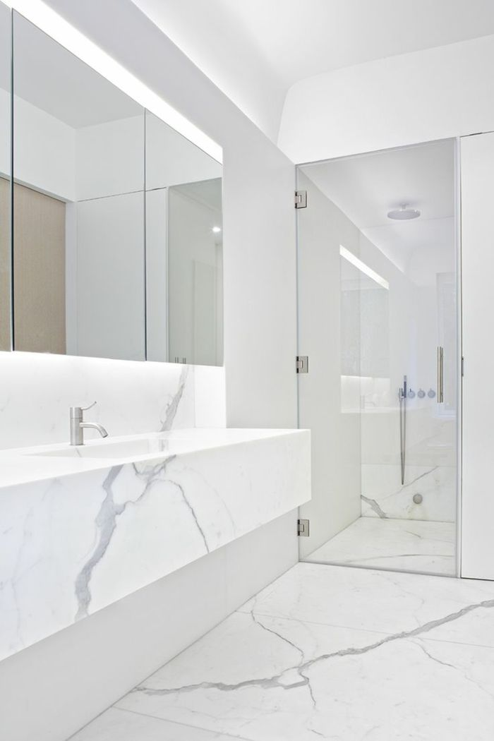 beautiful salle de bain moderne blanche gallery amazing With vasque marbre salle de bain