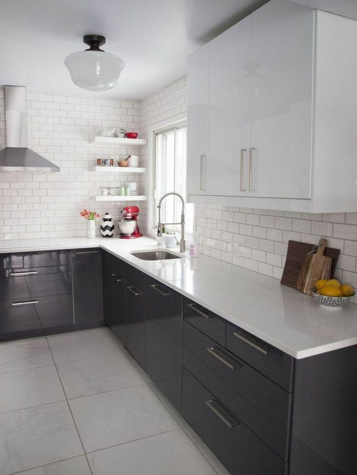 Id e relooking cuisine les meubles de cuisine laqu s blancs pour la cuisine moderne avec - Des idees pour la cuisine ...