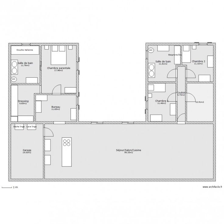 Idée relooking cuisine - Maison en U. Plan de 11 pièces et ...