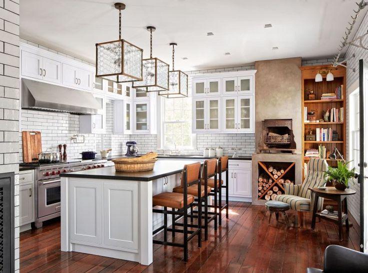 id e relooking cuisine modele de cuisine moderne deco rustique style campagne mur briques. Black Bedroom Furniture Sets. Home Design Ideas