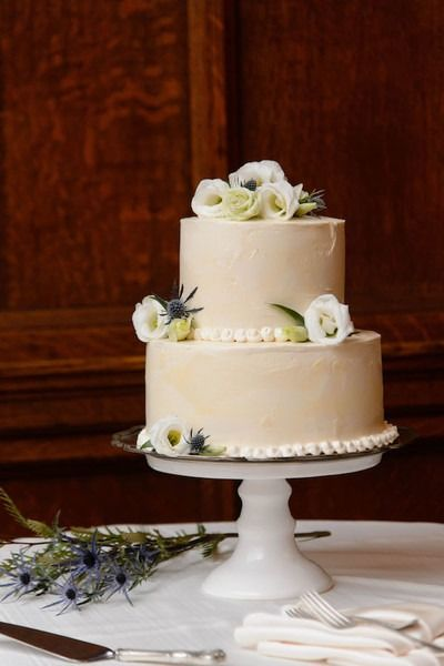 Elegant Simple Wedding Cake Idea Two Tier Buttercream Frosted