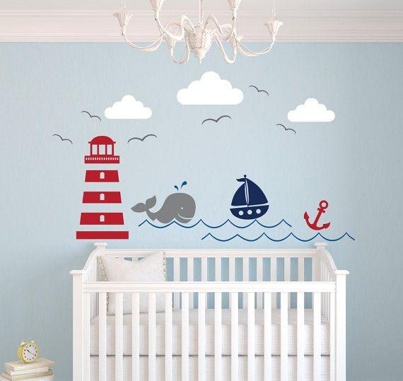 relooking et d coration 2017 2018 th me nautique autocollant sticker mural de chambre de. Black Bedroom Furniture Sets. Home Design Ideas