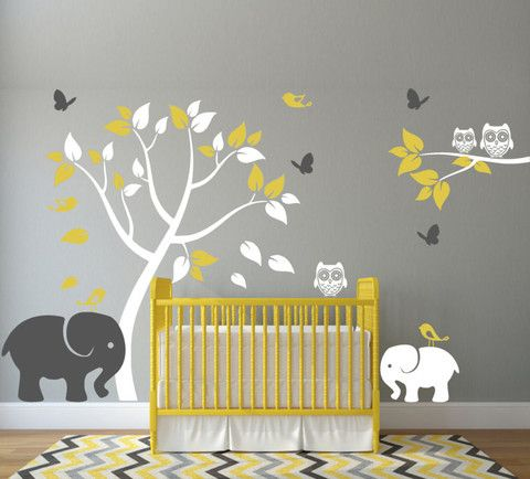 relooking et d coration 2017 2018 sticker mural pour chambre d 39 enfant avec l phants arbres. Black Bedroom Furniture Sets. Home Design Ideas