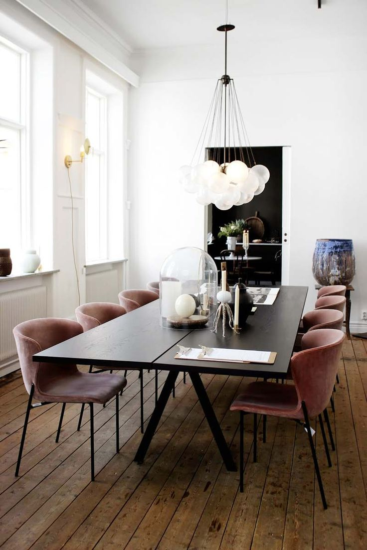 salle manger modern european dining room with bubble chandelier via thou swell listspirit. Black Bedroom Furniture Sets. Home Design Ideas