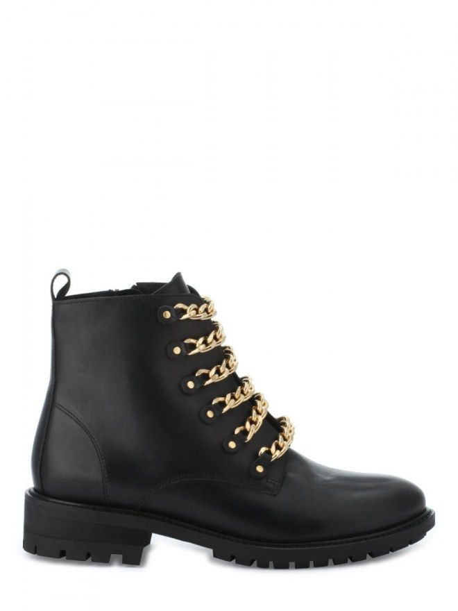 tendance chaussures 2017 bottines plates en cuir noir cha nettes dor es cosmoparis ah 2017. Black Bedroom Furniture Sets. Home Design Ideas