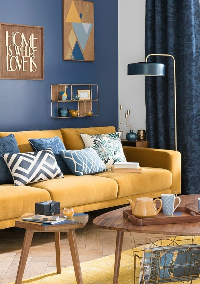 D co salon deco bleu et jaune salon scandinave canap jaune moutarde decoration murale - Decoration salon bleu et beige 2 ...