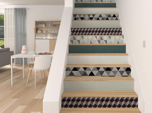 d co salon escalier graphique papier peint leading inspiration culture. Black Bedroom Furniture Sets. Home Design Ideas