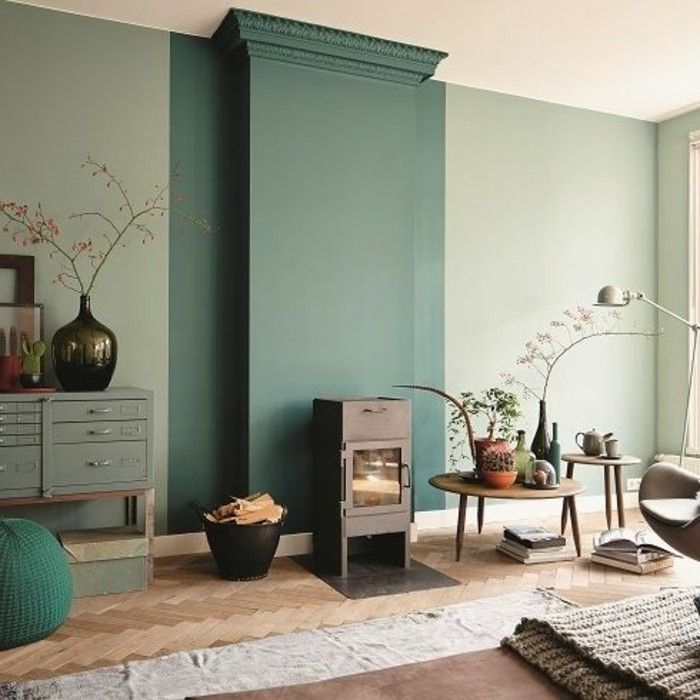 D co salon jolie idee deco salon sol en parquet clair cheminee d interieur design chic t - Decoration salon bleu et beige 2 ...
