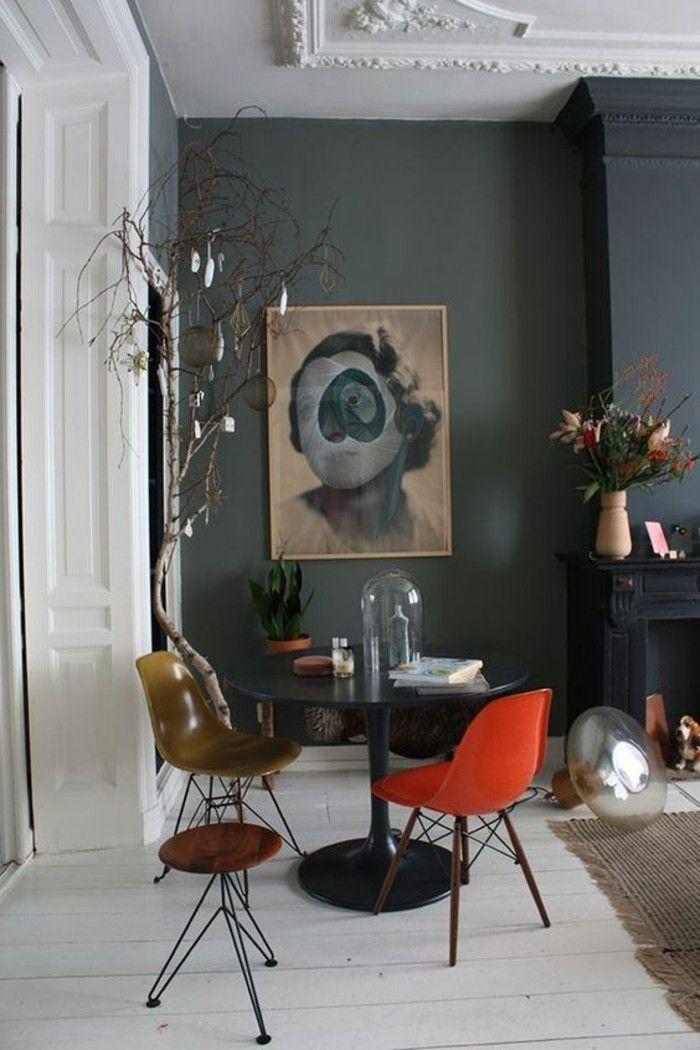 Déco Salon - Mur En Gris Anthracite, Grand Panneau D'Art Sur Les