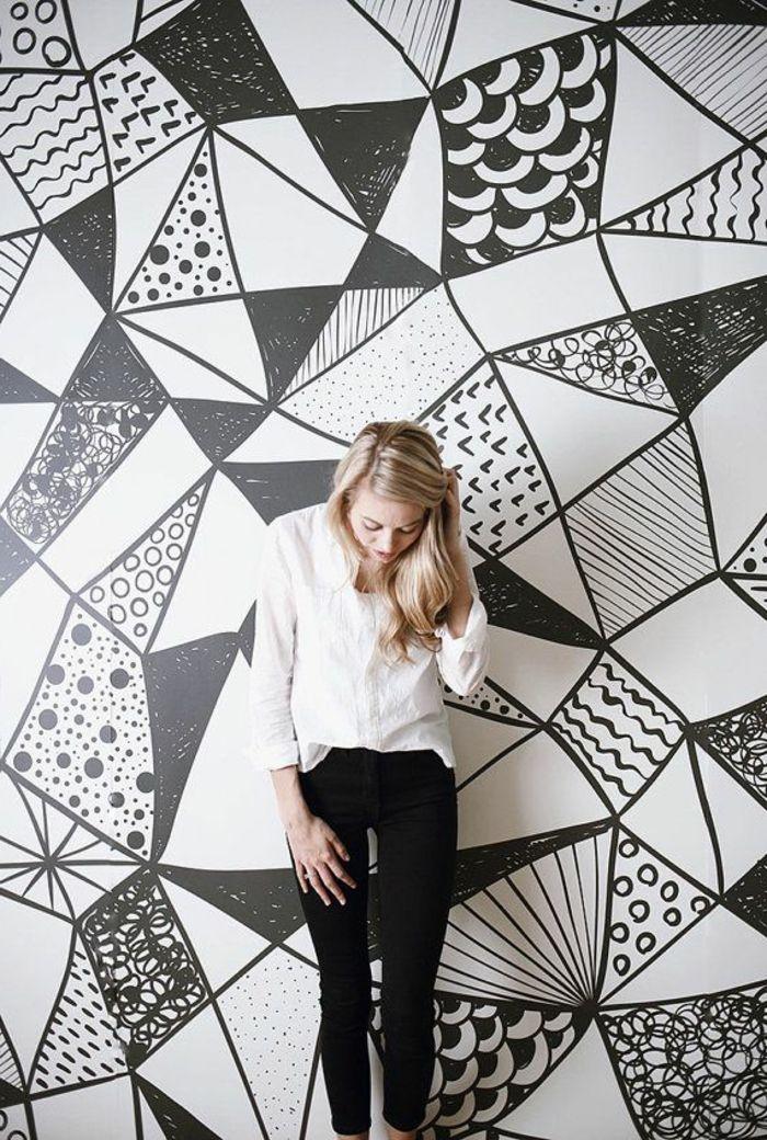Deco Salon Papier Peint Geometrique Blanc Et Noir Pour Le Salon