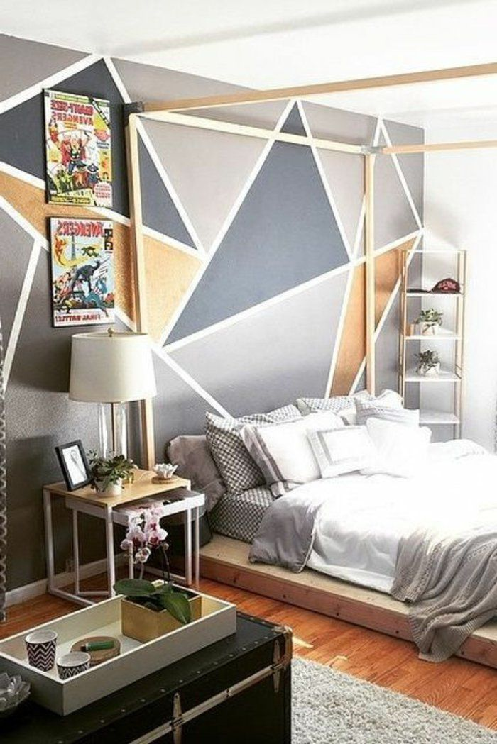d co salon peinture acrylique mur chambre coucher originale lit plateforme listspirit. Black Bedroom Furniture Sets. Home Design Ideas