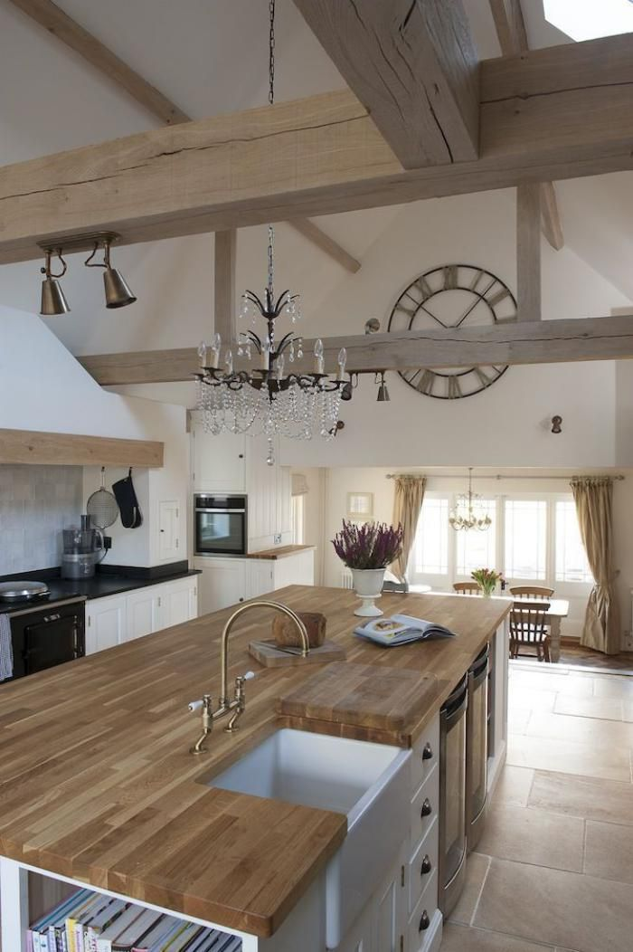 Déco Salon - poutres apparentes, cuisine déco bois et salle à manger ...