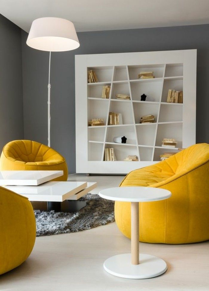 d co salon salon deco gris et jaune tapis rond moelleux tag re biblioth que modern. Black Bedroom Furniture Sets. Home Design Ideas
