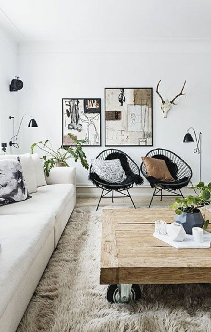 d co salon salon design scandinave chaises en fer noir table basse bois brut tapis en fo. Black Bedroom Furniture Sets. Home Design Ideas