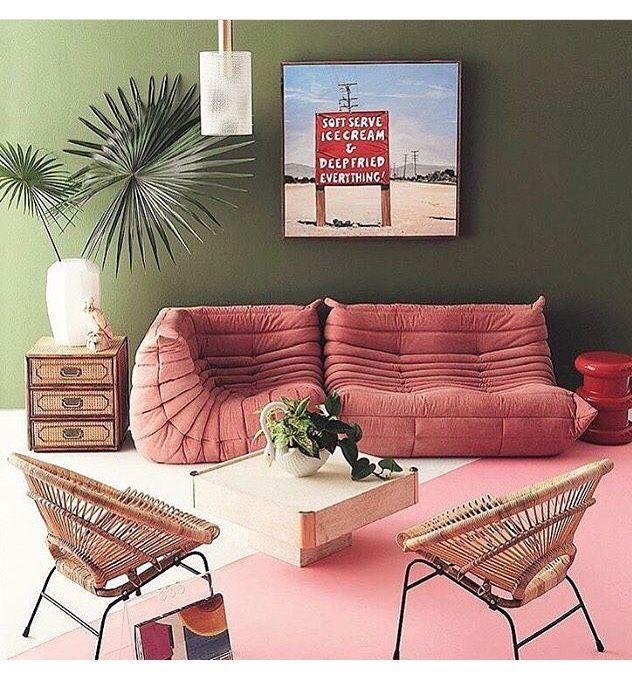 c9f783d965aa18 Déco Salon - Sofa ligne bobois en version vieux rose Fauteuil en ...