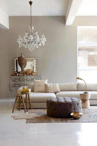 Déco Salon - Un salon taupe, lin et blanc, raffinement garantit ...