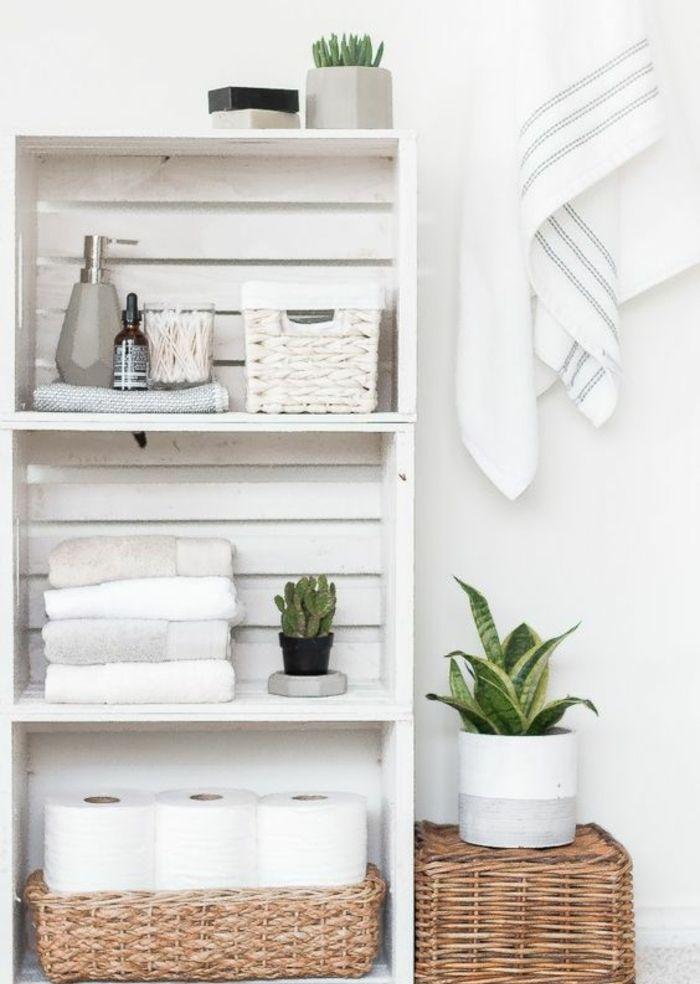id e d coration salle de bain etagere cagette trois niveaux rangement salle de bains. Black Bedroom Furniture Sets. Home Design Ideas