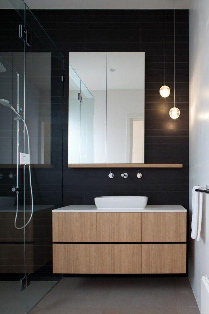 Idée décoration Salle de bain - faience noire salle de bain ...
