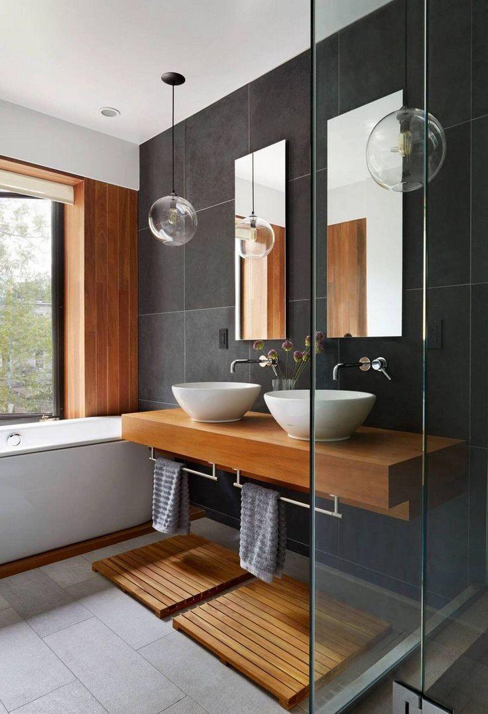 Id e d coration salle de bain meuble sous vasque en bois for Salle de bain carrelage bois gris