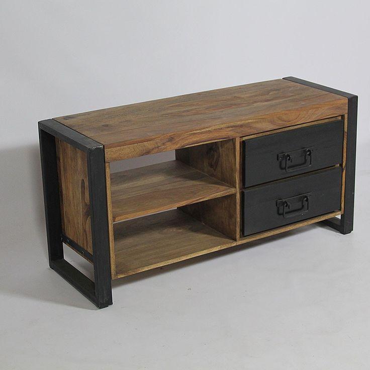 id e d coration salle de bain meuble tv industriel manguier naturel leading. Black Bedroom Furniture Sets. Home Design Ideas