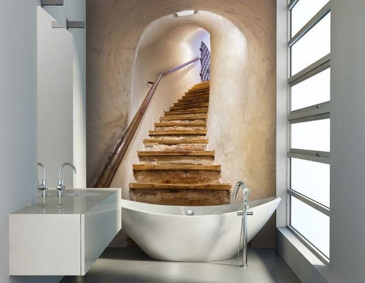 Papier peint salle de bain avec pour motifs un escalier en for Salle de bain bois brut