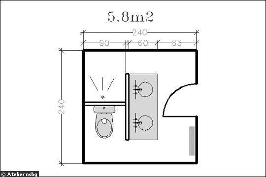 id e d coration salle de bain petite salle de bain cloison entre douche et evier. Black Bedroom Furniture Sets. Home Design Ideas