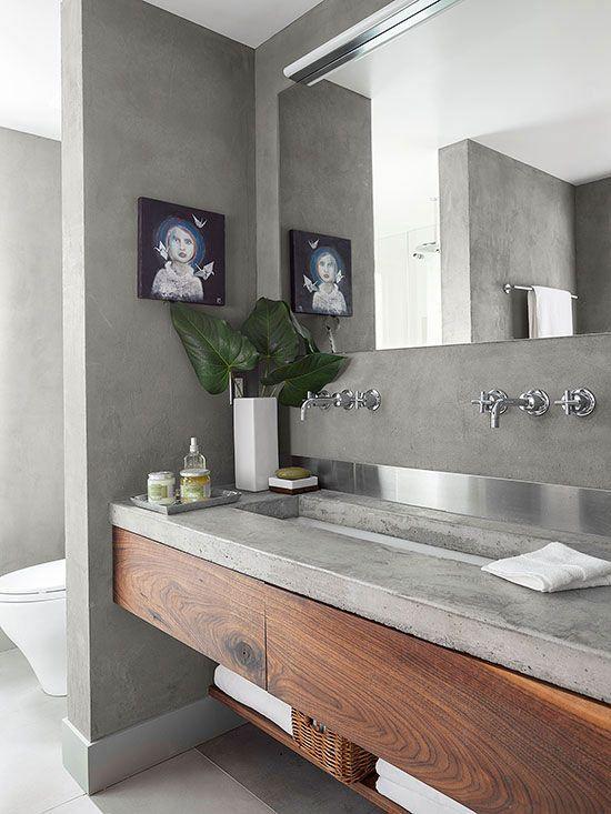 Idée décoration Salle de bain - Plan vasque en béton ciré dans la ...