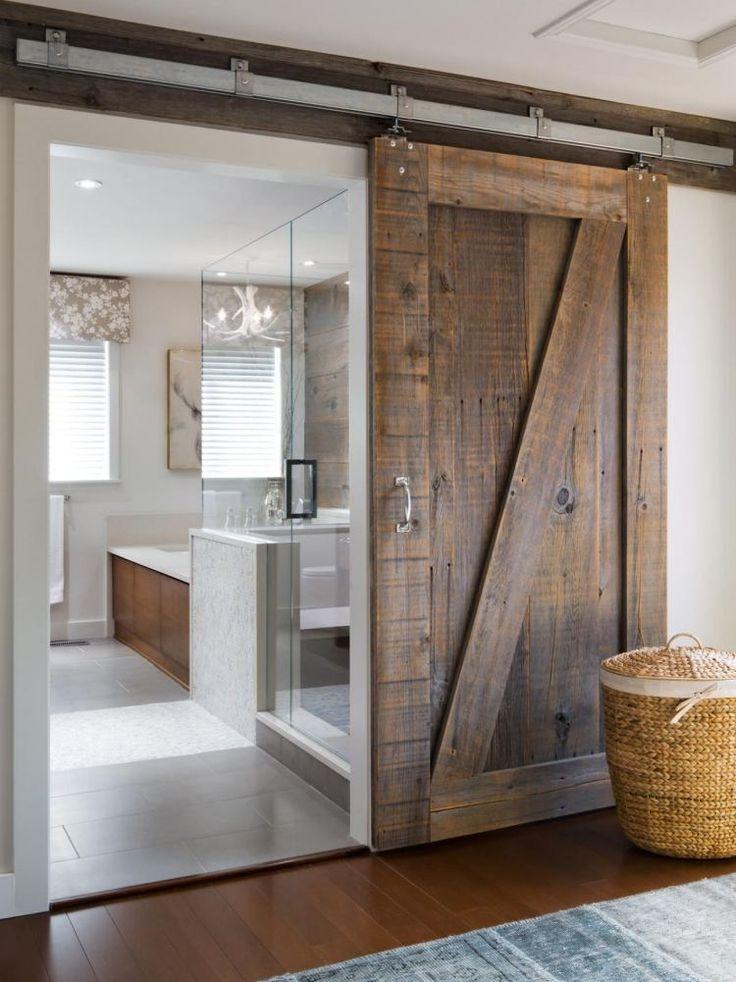 Idée décoration Salle de bain - porte coulissante grange en bois ...