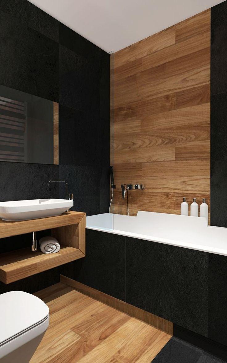Id e d coration salle de bain salle de bains moderne for Carrelage salle de bain noir