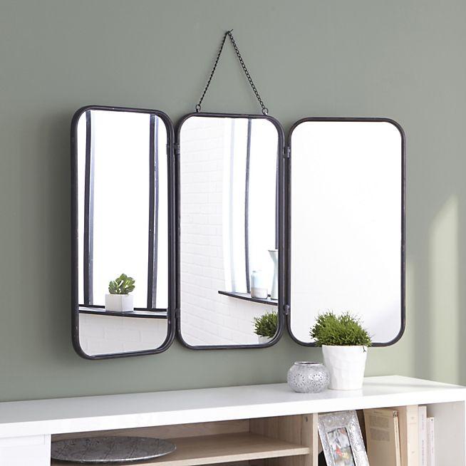 id e d coration salle de bain todd miroir de barbier avec cadre en m tal noir. Black Bedroom Furniture Sets. Home Design Ideas
