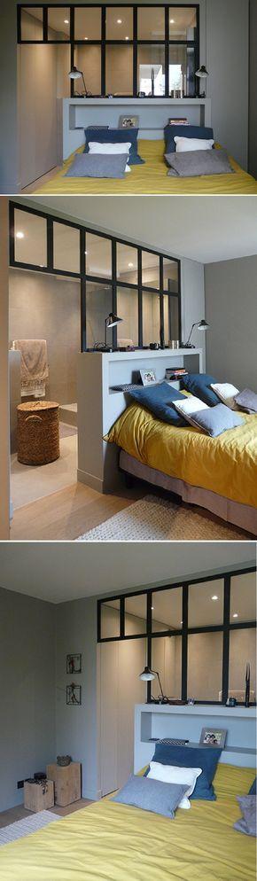 Id e d coration salle de bain une suite parentale avec une cloison atelier pour d limiter la - Cloison pour salle de bain ...