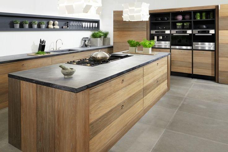 Idée relooking cuisine - cuisine en bois et plan de travail en ...