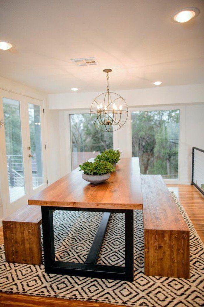id e relooking cuisine meuble de salle a manger table bois et fer banquettes en bois et. Black Bedroom Furniture Sets. Home Design Ideas