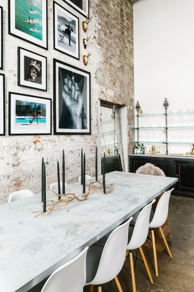 Description Dining Space With Exposed Brick Walls Framed Art