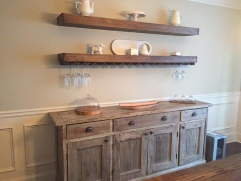 Description DIY Floating Shelves With Wine Glass Storage Over Buffet In Dining Room