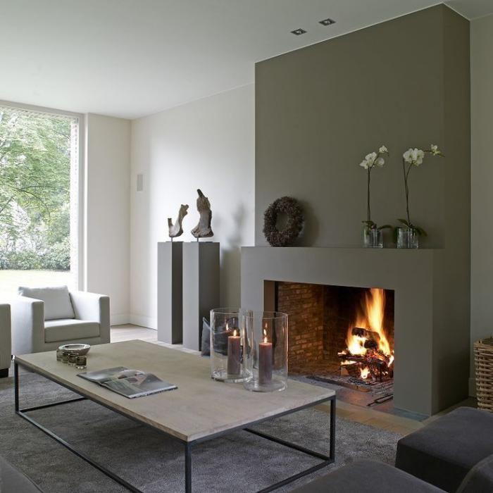 Salle à manger - manteau de cheminée, beau petit salon avec ...